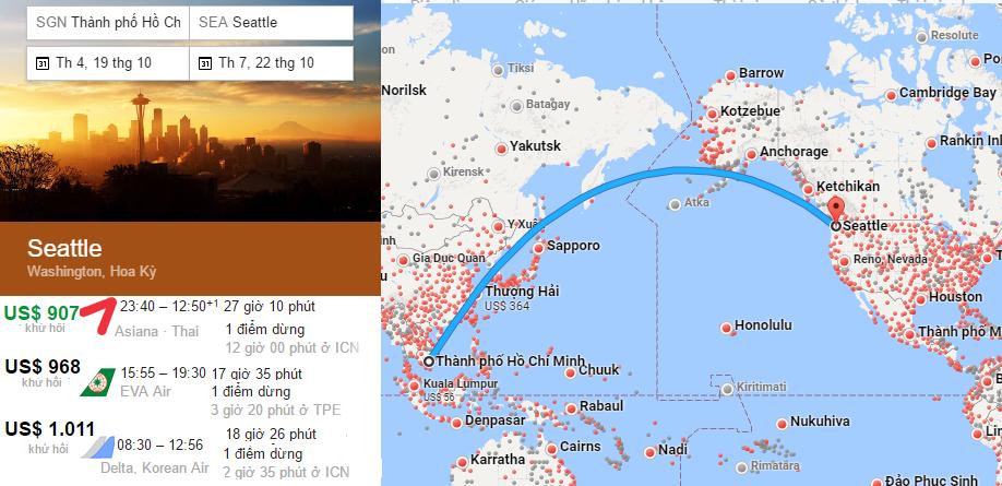 Bản đồ bay đi Seattle