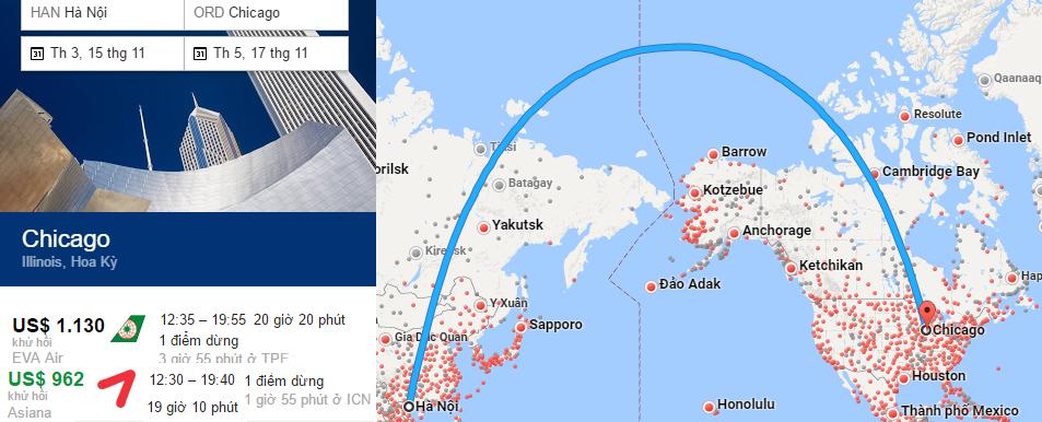 Bản đồ bay tới Chicago