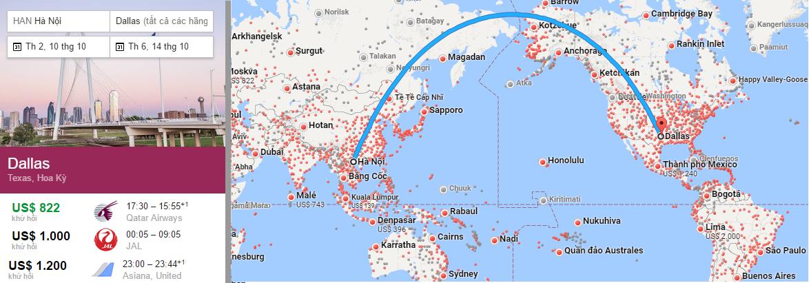 Bản đồ đường bay đi Dallas, Texas từ Việt Nam